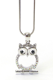 WHITEGOLD PLATING CRYSTAL OWL PENDANT NECKLACE