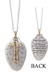 RELIGIOUS INSPIRATION MESSAGE ON SPOON HEAD LONG NECKLACE - LORD'S PRAYER