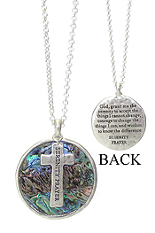 RELIGIOUS INSPIRATION MESSAGE ON ABALONE AND CROSS PENDANT NECKLACE - SERENITY PRAYER