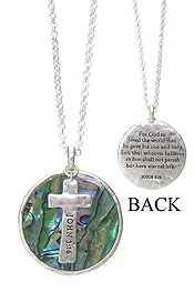 RELIGIOUS INSPIRATION MESSAGE ON ABALONE AND CROSS PENDANT NECKLACE - JOHN 3:16