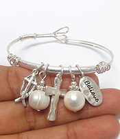 CROSS THEME CHARM WIRE BRACELET-believe
