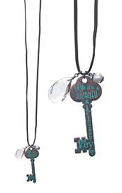 INSPIRATION MESSAGE KEY LONG NECKLACE - LIFE IS A JOURNEY AND ONLY YOU HOLD THE KEY