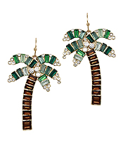 BAGUETTE CRYSTAL PALM TREE EARRING