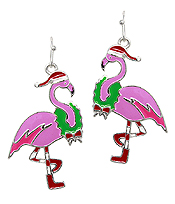 EPOXY CHRISTMAS THEME EARRING - FLAMINGO