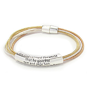 RELIGIOUS INSPIRATION MESSAGE MULTI STRETCH CORD MAGNETIC BRACELET - JOHN 3:16