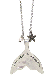 INSPIRATION MESSAGE ON MERMAID TAIL AND STARFISH LONG NECKLACE - WISH UPON A STARFISH