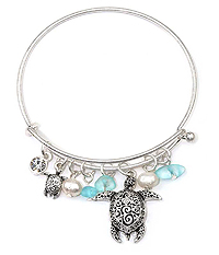 ALEX AND ANI STYLE TEXTURED TURTLE AND PEARL CHARM WIRE BANGLE BRACELET