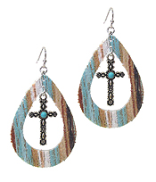SERAPE PATTERN TEARDROP AND CROSS EARRING