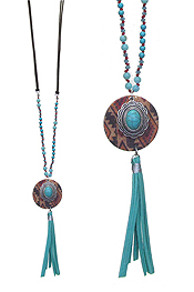 SERAPE PATTERN DISC AND TURQUOISE PENDANT LONG NECKLACE