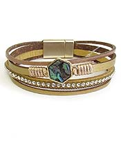 MULTI LAYER LEATHERETTE MAGNETIC BRACELET - ABALONE