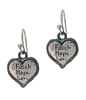 RELIGIOUS INSPIRATION HEART EARRING - FAITH HOPE LOVE