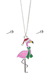 EPOXY CHRISTMAS THEME FLAMINGO PENDANT NECKLACE SET