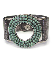 MULTI TURQUOISE STUD RING LEATHER BRACELET