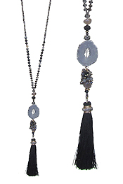 MIXED GLASS BEAD AND DRUZY TASSEL DROP LONG NECKLACE