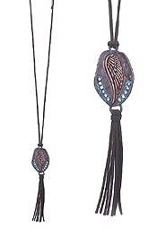 WESTERN STYLE PENDANT AND SUEDE TASSEL LONG NECKLACE - WING