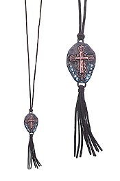 WESTERN STYLE PENDANT AND SUEDE TASSEL LONG NECKLACE - CROSS