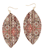 FAUX LEATHER MOROCCAN FRINGE MARQUISE EARRING