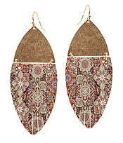 FAUX LEATHER AND METAL MOROCCAN FRINGE MARQUISE EARRING