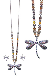DRAGONFLY PENDANT AND MULTI BEAD CHAIN LONG NECKLACE SET