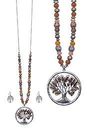 TREE OF LIFE PENDANT AND MIXED BEAD LONG NECKLACE SET