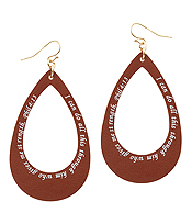 RELIGIOUS INSPIRATION MESSAGE LEATHER EARRING - TEARDROP - PHIL 4:13