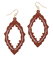 RELIGIOUS INSPIRATION MESSAGE LEATHER EARRING - QUATREFOIL - 1 COR 13:4