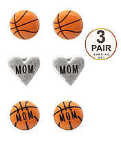 SPORT THEME 3 PAIR EARRING SET - BASKETBALL