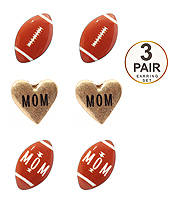 SPORT THEME 3 PAIR EARRING SET - FOOTBALL