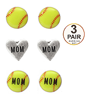 SPORT THEME 3 PAIR EARRING SET - SOFTBALL