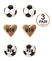 SPORT THEME 3 PAIR EARRING SET - SOCCER