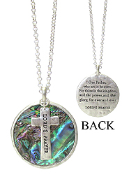 RELIGIOUS INSPIRATION MESSAGE ON ABALONE AND CROSS PENDANT NECKLACE - LORD'S PRAYER