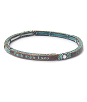 RELIGIOUS INSPIRATION MESSAGE PATINA STRETCH BRACELET - FAITH HOPE LOVE