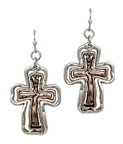 VINTAGE METAL TRIPLE CROSS EARRING