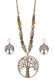 METAL FILIGREE TREE OF LIFE PENDANT AND MULTI BEAD CHAIN NECKLACE SET