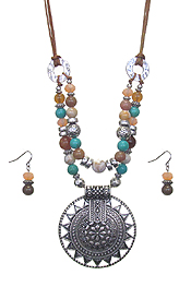 AZTEC PATTERN DISC PENDANT AND MIXED BEAD DOUBLE LAYER NECKLACE SET