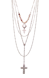 MULTI LAYER CROSS PENDANT NECKLACE