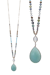 SEMI PRECIOUS STONE PENDANT AND MIXED BEAD LONG NECKLACE