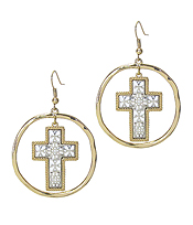 METAL FILIGREE CROSS DANGLE EARRING