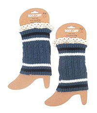 VINTAGE LACE AND STRIPE CROCHET LEG WARMER - BOOT CUFFS