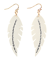 RELIGIOUS INSPIRATION MESSAGE LEATHER EARRING - FEATHER - JOHN 14:6