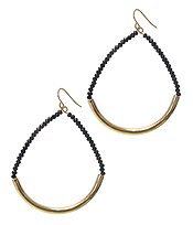 METAL TUBE AND GLASS BEAD TEARDROP EARRING