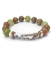 RELIGIOUS INSPIRATION STRETCH BEAD BRACELET - BELIEVE
