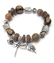 MULTI BEAD STRETCH BRACELET - DRAGONFLY