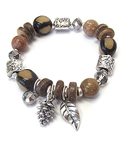 MULTI BEAD STRETCH BRACELET - PINE CONE