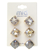 MIXED STONE 3 PAIR EARRING SET