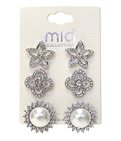 MIXED CRYSTAL AND PEARL 3 PAIR EARRING SET