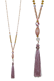 MIXED GLASS BEAD AND TASSEL DROP LONG NECKLACE