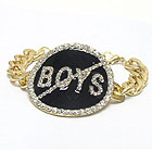 NO BOYS CRYSTAL STUD JET EPOXY MEDAL CHAIN BRACELET