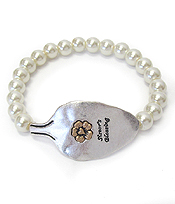 RELIGIOUS INSPIRATION SPOON HEAD AND PEARL STRETCH BRACELET - SISTER'S BLESSING