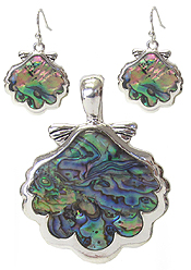 ABALONE SEA SHELL PENDANT AND EARRING SET